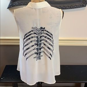 Lulumari Skelly Ivory w/ Black Lace Skeleton Top